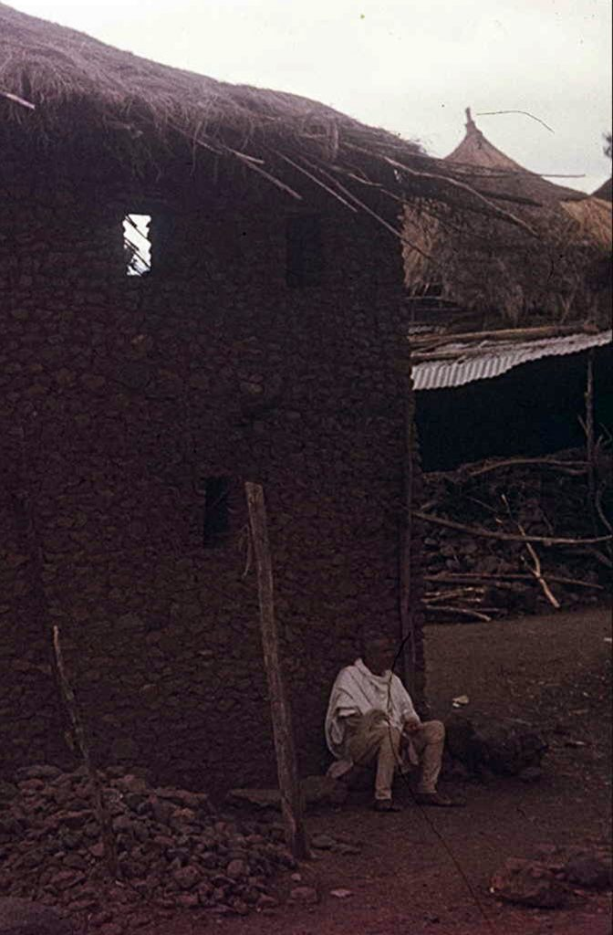 Jewish man outside his house, Ambover, Ethiopia. 1971. Courtesy of Ilan de beer.